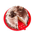 Cake chocolate on red plate Stock Photos