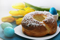 Cake with coconut passover holiday still life eggs flowers and Royalty Free Stock Photos