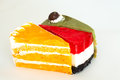 Cake the colorful of on white background Royalty Free Stock Photography