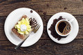 Cake and cup of coffee Royalty Free Stock Photo