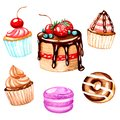 Cake, cupcakes, macaron, donut with chocolate is handmade with watercolors. For prints on clothes, textiles, Wallpaper, for menu d