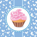 Cake with a delicate glaze on a blue background vector Stock Photo