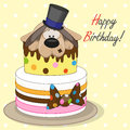 Cake with dog greeting card Royalty Free Stock Photos