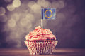 Cake with eu flag photo in vintage color style Stock Photos