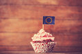 Cake with eu flag photo in vintage color style Royalty Free Stock Images