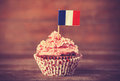 Cake with french flag photo in vintage color style Royalty Free Stock Photos