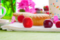 Cake with fresh fruits decoration Stock Images