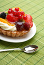 Cake with fresh fruits and flower Royalty Free Stock Image