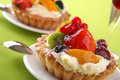 Cake with fresh fruits and flower Stock Images
