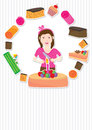 Cake Girl Card_eps Stock Photo