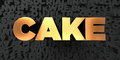 Cake - Gold text on black background - 3D rendered royalty free stock picture