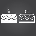 Cake icon. Solid and Outline Versions. White icons on a dark bac