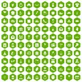 100 cake icons hexagon green