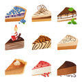 Cake icons slices over white background Stock Photos