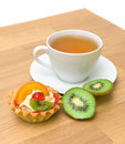 Cake, kiwi fruit and a cup of tea Royalty Free Stock Photos