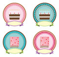Cake logo and sticker vector design of icons logos for or birthday with illustrator Royalty Free Stock Photography