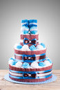Cake made from diapers Royalty Free Stock Photo
