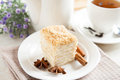 Cake Napoleon, cinnamon and anise with a tea Stock Photo