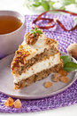 Cake with nuts and caramel Stock Images