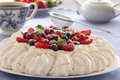 Cake pavlova cream berries Royalty Free Stock Image
