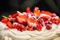 Cake Pavlova with cream and fresh fruits Royalty Free Stock Photo