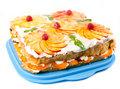 Cake with peaches and raspberries Stock Photography
