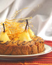 Cake with pears with spun sugar strands selective focus Stock Images