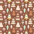 Cake pie tart Happy Birthday cartoon seamless pattern background vector illustration.