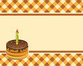 Cake on a plaid background vector illustration with candle Stock Photo