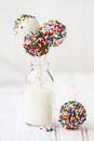 Cake pops chocolate covered decorated with colorful sprinkles Stock Images