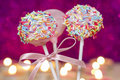 Cake pops decorated with colorful sprinkles dessert for birthday party or children s day party Stock Image