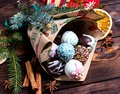 Cake pops. Sweet food. Dark wooden Christmas background. Christmas gift. Royalty Free Stock Photo