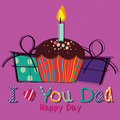 Cake and present with text i love you dad on purple background Stock Photos