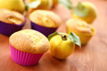 Cake with quince sweet muffins stuffed on the table Stock Photography