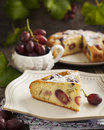 Cake with red grapes Royalty Free Stock Photo