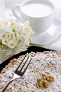 Cake with Ricotta Chocolate and Walnuts Royalty Free Stock Images