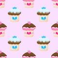 Cake seamless pattern berry