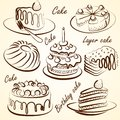 Cake set vectors vector hand drawn and doodles on white Stock Photography
