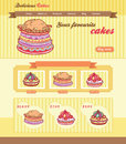 Cake shop template design for website with illustrations Royalty Free Stock Image