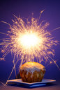 Cake with sparkler Royalty Free Stock Photo