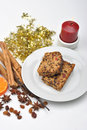 Cake with spice and candle Stock Image