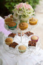 Cake stand shelves within the wedding Stock Image