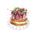 Cake strawberry fruit cake short cake dessert watercolor painting illustration isolated on white background