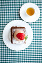 Cake with strawberry and tea Stock Images