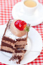 Cake with strawberry and tea Stock Photos