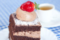Cake with strawberry and tea Royalty Free Stock Photo