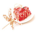 Cake with strawberry topping and dragonfly Royalty Free Stock Photography