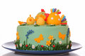 Cake sugar birthday with chicken biddy and poult Stock Photos