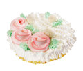 Cake with three decorative roses over white Stock Photo