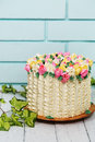 Cake with tulips Royalty Free Stock Photo